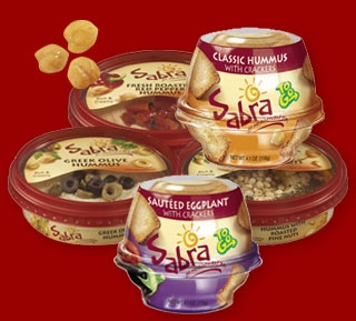 Packages of roasted red pepper hummus with pretzels similar to the ones shown above may be popular lunchtime snacks. SPJP is organizing a boycott against the company behind the hummus, Sabra.