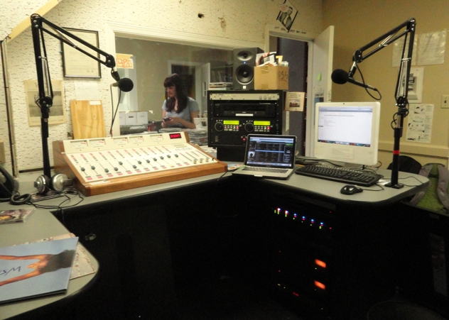 The inside of Studio A, WSRN office, on the fourth floor of Parrish, along with broadcast equipment. (Cristina Matamoros/The Phoenix)