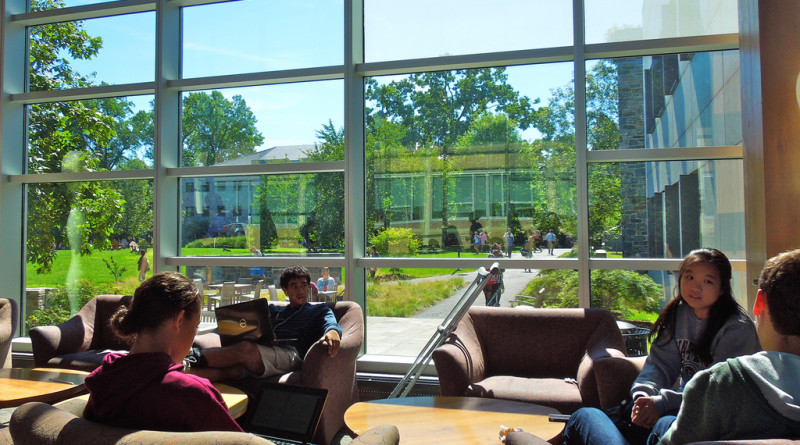 Students relax in the Science Center Commons on a sunny afternoonPhoto by Erin Ching '16