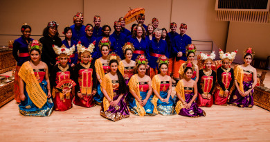 Members of the Gamelan Semara Santi pose for a photo at their fall concertPhoto by Abigail Starr '13