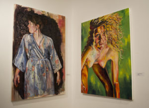 """This exhibition is Diamond's second in two years. """"Self-Portrait in Blue Kimono"""" (left) is on display for the second time.  Camila Ryder/The Phoenix"""