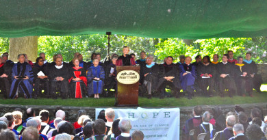 President Rebecca Chopp addresses the audience at Swarthmore's Commencement ceremony in 2010. Vice President for College and Community Relations Maurice Eldridge '61 is pictured onstage to the right of Chopp, in the front row. Photo by Ellen Sanchez-Huerta '13