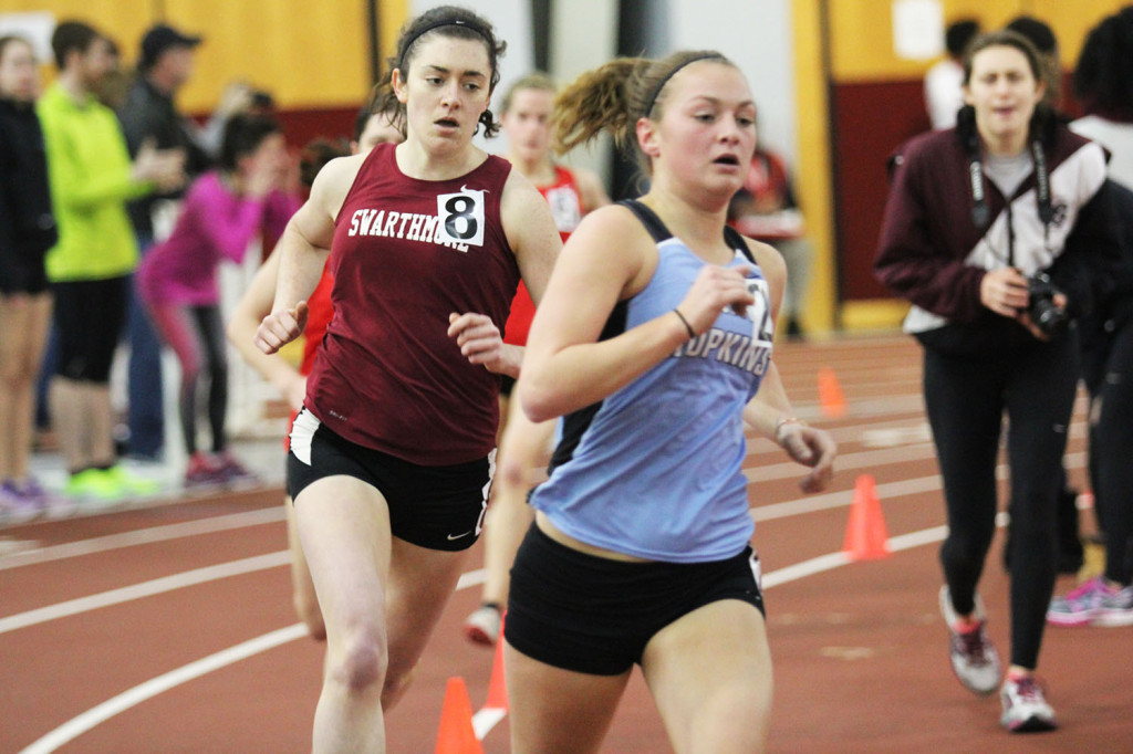 Katie McManemin (left) lead Women's Track and Field to an impressive second place finish.  Photo Credit: Swarthmore Athletics