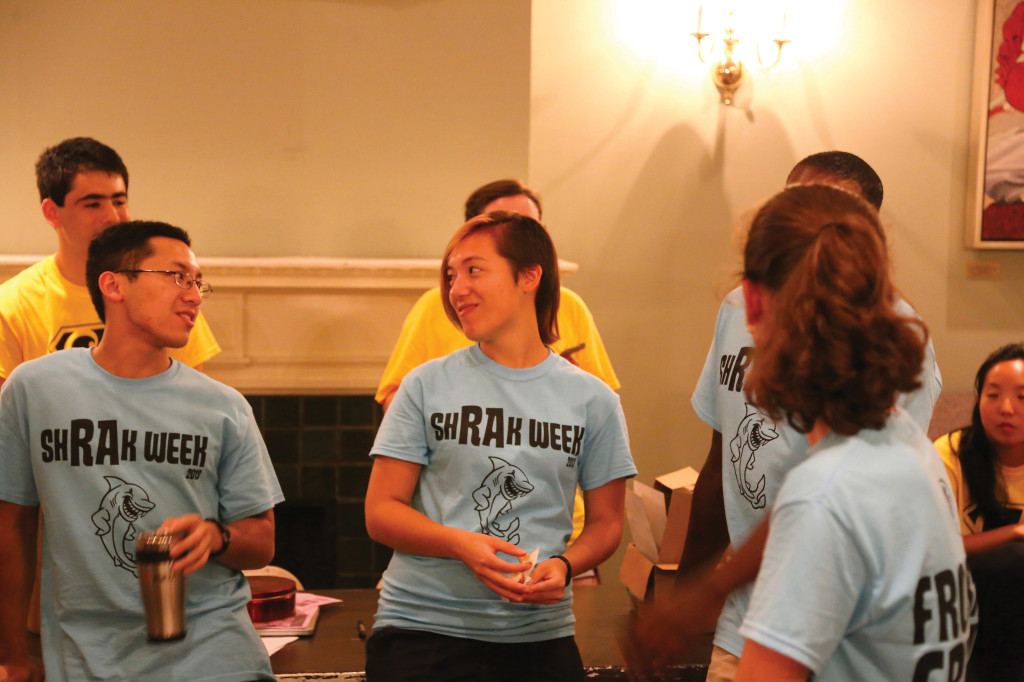 RAs and CAs lead an activity during Orientation Week.