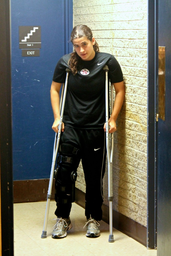 Hannah Lichtenstein '17, who tore her ACL playing varsity soccer this fall.