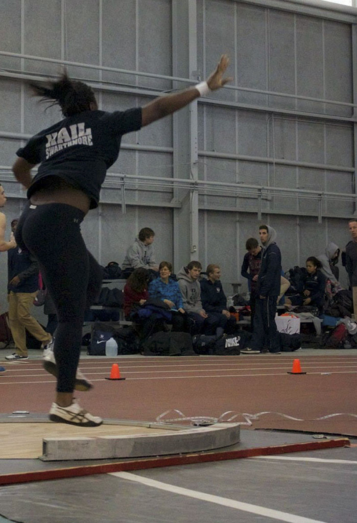 Osazenoriuwa Ebose '15 has torn down several school records with her powerful shot put and discus throws.