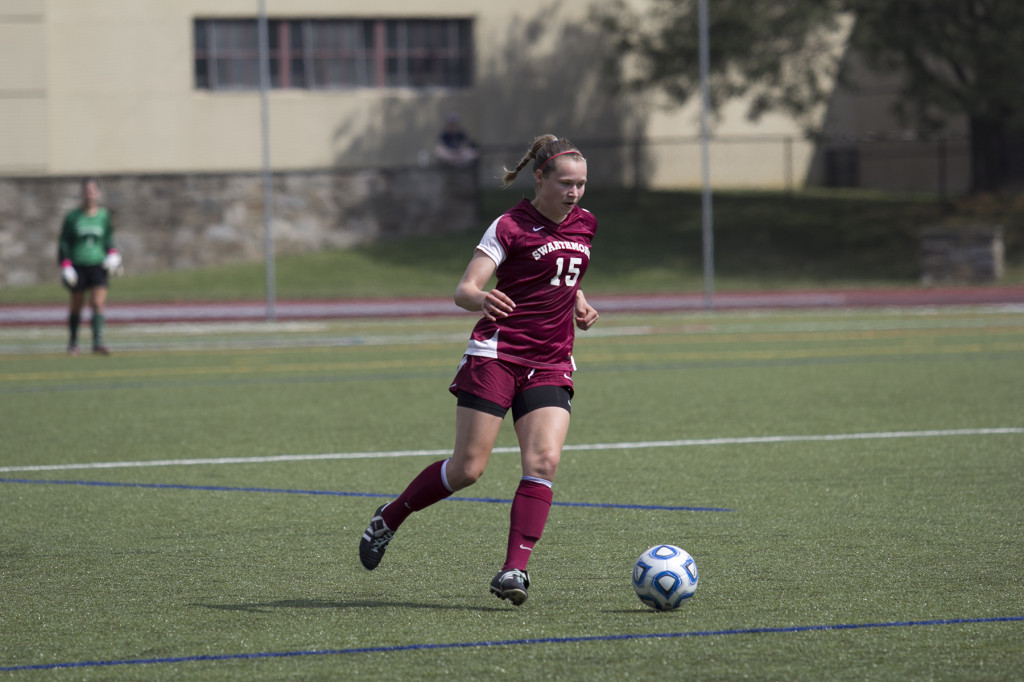 Ellen Bachmannhuff '15 and the Swarthmore back line have been instrumental to the team's early season success