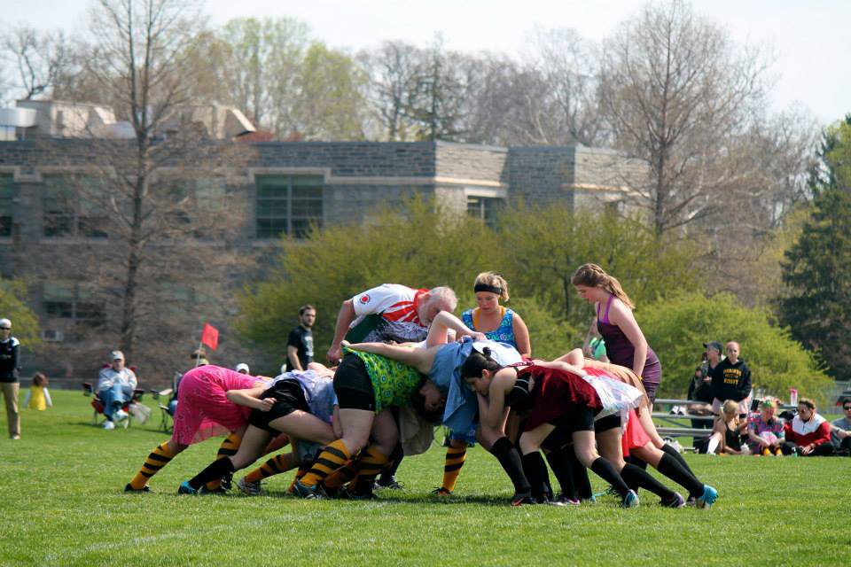 Scrums such as this are commonplace in both men's and women's rugby.