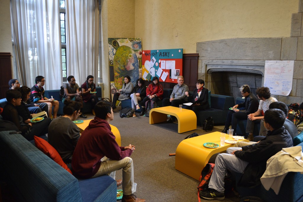 Students gather for Native Heritage Month luncheon in the Intercultural Center. Photo by Angela Abitino