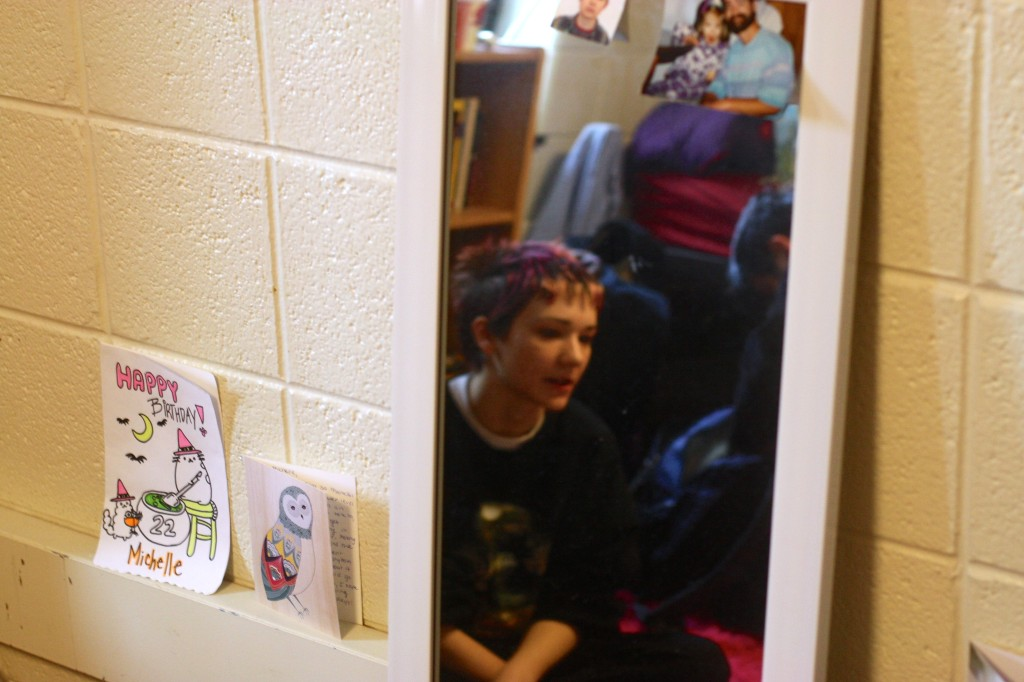 Michelle Myers has made a shrine around her mirror to become used to the idea of self-care