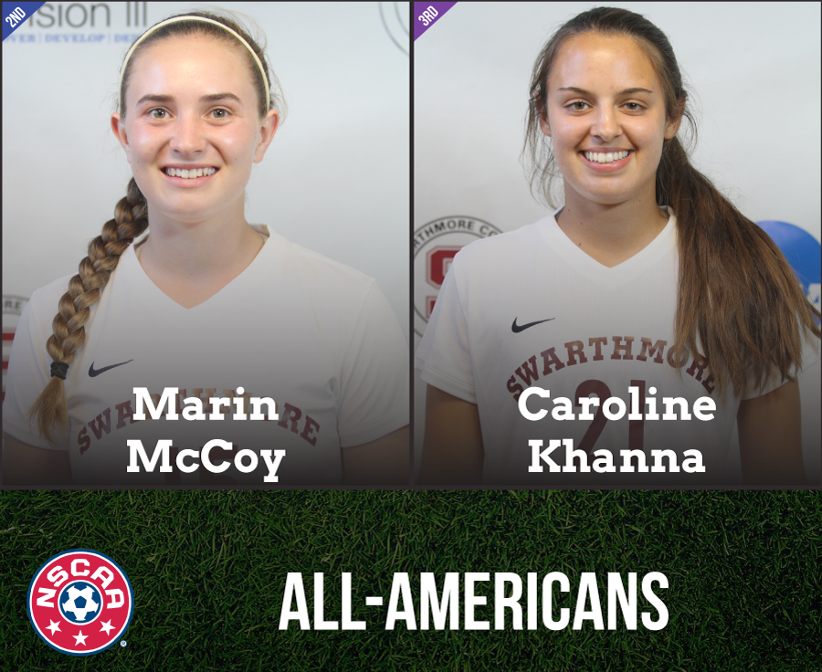 Marin McCoy '19 and Caroline Khanna '17 represent Swarthmore as All-Americans.