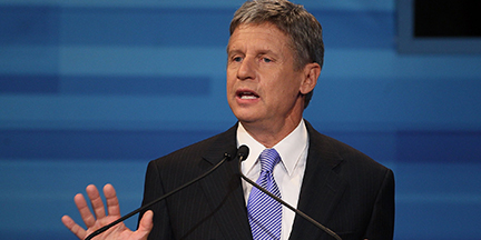 ORLANDO, FL - SEPTEMBER 22:  Former New Mexico Gov. Gary Johnson speaks in the Fox News/Google GOP Debate at the Orange County Convention Center on September 22, 2011 in Orlando, Florida. The debate featured the nine Republican candidates two days before the Florida straw poll. (Photo by Mark Wilson/Getty Images)